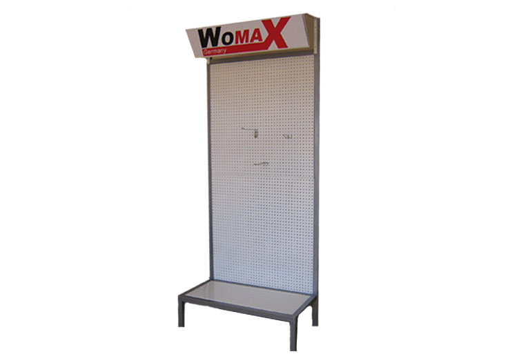 Advertising shelf with hanging hooks